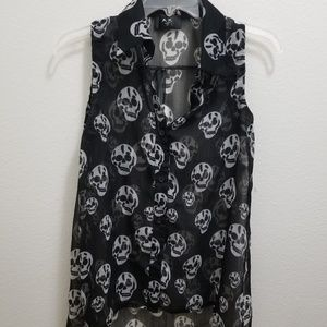 AX Paris Skull Head Button-Down Sleeveless Shirt